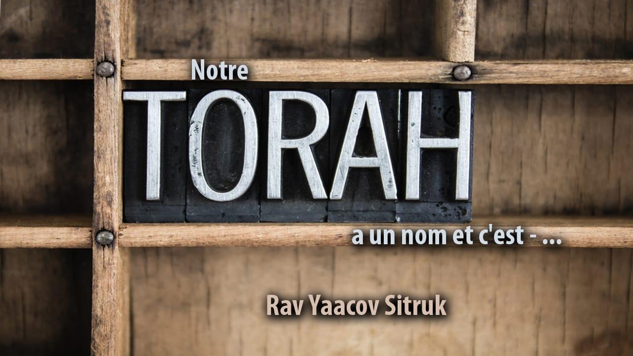 Photo of Notre torah a un nom et c'est – …
